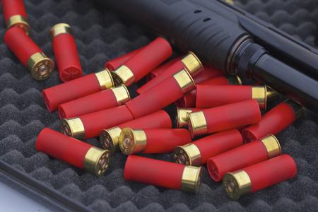 fusil de chasse: 12 gauge shotgun shells with shotgun on surface Banque d'images