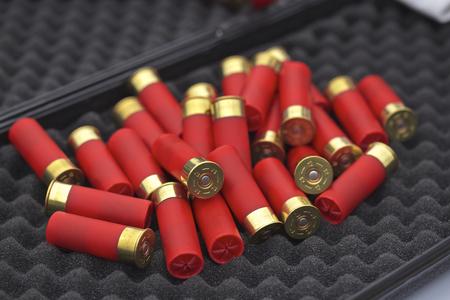 12 gauge shotgun shells with shotgun on surface Фото со стока