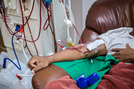 Patients taking blood dialysis in the hospital.