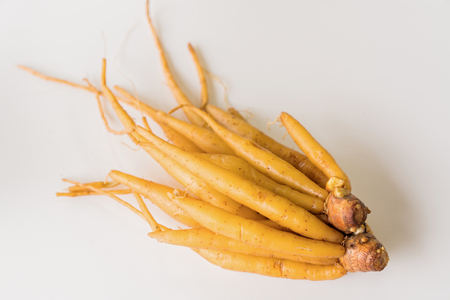 ingredient of thailand spices called galingale on white background. Stock Photo