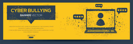 Creative (Cyber bullying) Banner Word with Icon ,Vector illustration.