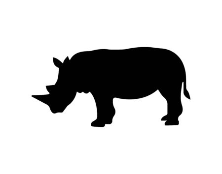 Rhinoceros black icon . - Vector