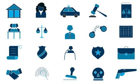 Law icon pack. Simple flat symbol. Perfect  pictogram illustration on white background.