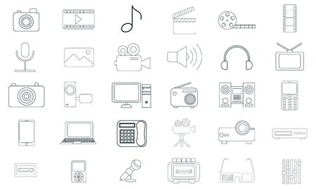 Media icon set. High quality for web site design and mobile apps. Vector illustration on a white background.