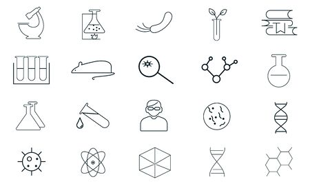 Science icon pack vector, illustration template in trendy style. Can be used for many purposes.