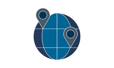 Globe location icon vector. Simple flat symbol. Perfect pictogram illustration on white background.