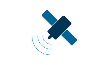 Satellite icon vector. Simple flat symbol. Perfect pictogram illustration on white background.