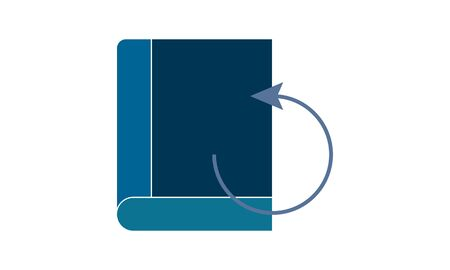 Book reload icon flat symbol vector illustration.