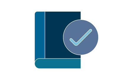 Approve book icon flat style graphical symbol. Can be used web and mobile apps.
