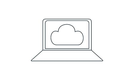 Laptop Cloud Computing icon .Cloud computing concept vector illustration.  イラスト・ベクター素材