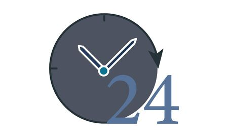 24 hours vector icon. Full rotation.