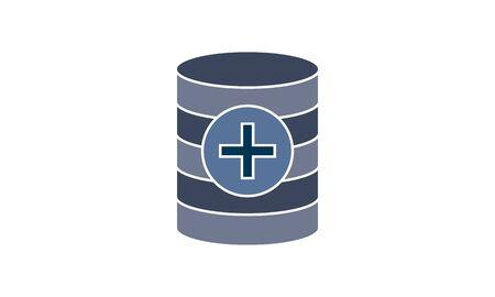 Add, add database, create database, new database icon vector illustration flat style graphical symbol.