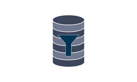 Database Icon & Filter - Symbol, Vector Illustration. Çizim