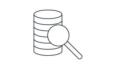 Database, Server Isolated Flat Web Mobile Icon with search icon or magnifying glass. Vector Illustration isolated on modern background.