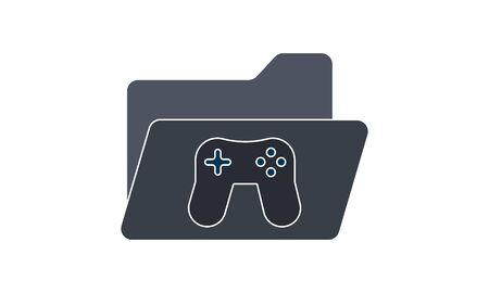 Game folder flat icon. Folder with game pad icon in trendy flat style. Computer folder gradient style design, designed for web and app. Eps 10