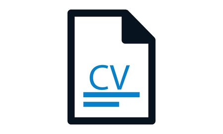 cv icon or curriculum vitae. concept of specialist by hiring or recruit. linear stroke unusual style trend modern or simple graphic art design illustration isolated on white Illusztráció