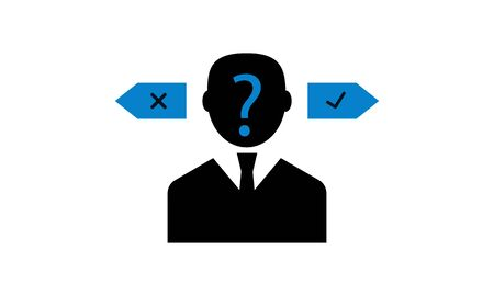 Confusion in decision making vector icon. Stock Illustratie