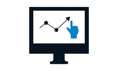 Flat design icon of online competitor analysis or market research Ilustração