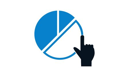 Pie chart with hand icon. Online report icon concept vector illustration.
