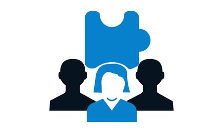 Teamwork problem solving vector icon.
