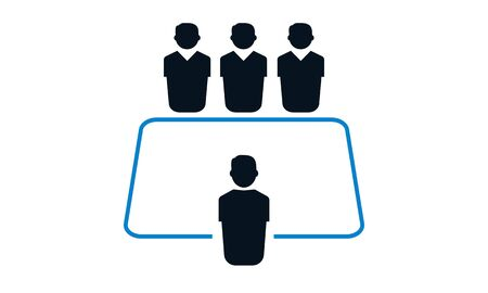 Board room members sitting around a table icon - vector
