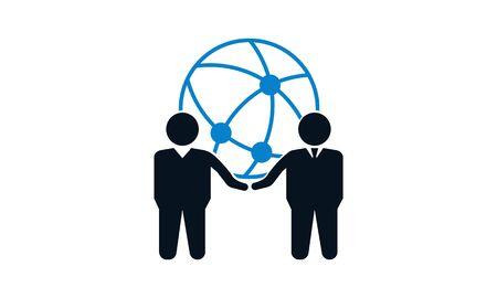Globale Business-Vektor-Logo-Design-Vorlage. Illustration mit Menschensilhouette und Globussymbol. Dieses Logo könnte für erfolgreiche Unternehmen und Dienstleistungen, soziale Netzwerke, Partnerschaften und Teamarbeit verwendet werden.