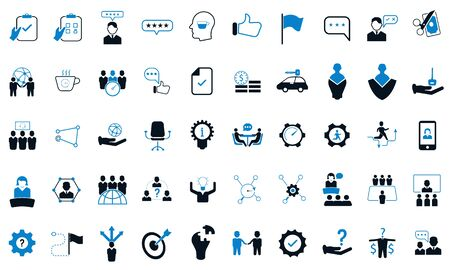 Set vector icons in flat design office and business with elements for mobile concepts and web apps. Collection modern infographic logo and pictogram.  イラスト・ベクター素材