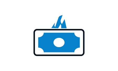 Burn Banknotes icon. Vector illustration style is flat iconic symbol. Designed for web and software interfaces. Çizim
