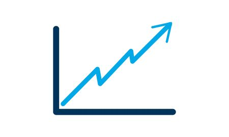 Line Graph Chart icon flat style used for website Illusztráció