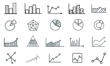 Set of Charts and Diagrams icon template.Trend and more symbol vector sign isolated on white background vector illustration for graphic and web design. Illusztráció