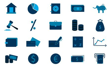 Finance vector icons flat style used for website. Illusztráció
