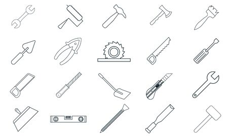 Hand tools icon set vector. Simple flat symbol. Perfect pictogram illustration on white background.