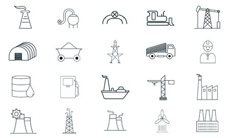 Industry icon set vector illustration used for website. Foto de archivo - 134667048