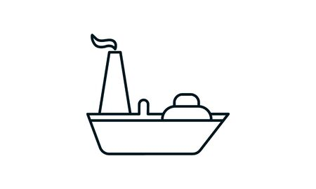Oil tanker ship icon. Simple illustration of oil tanker ship vector icon for web Illustration