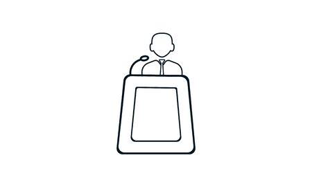 Speaker icon flat style graphical symbol used for website. Ilustração