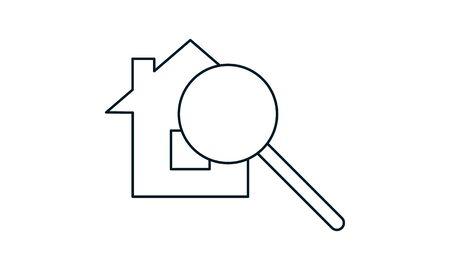 Home search icon. Real estate element. Premium quality graphic design.