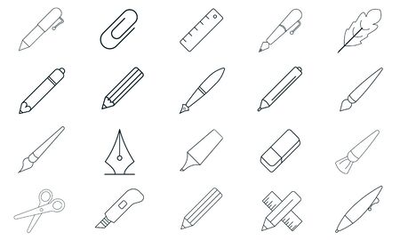 Writing tools icon set vector illustration. Illustration