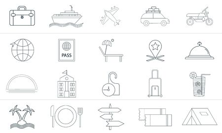 Trendy flat icon pack for designers and developers. Vector travel set, travel icon object, travel icon picture, travel icon image .