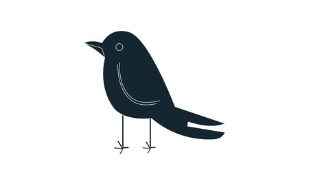 Crow vector icon flat style graphical symbol. Illustration