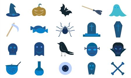 Halloween icon set pumpkin vampire witch bat vector image Ilustracja