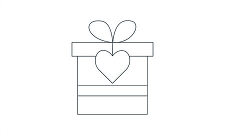 Gift box icon on white background. Vector illustration  イラスト・ベクター素材