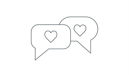 Simple flat love chat icon vector  イラスト・ベクター素材