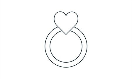 Wedding ring icon with heart. Love sign and symbol. Love, couple, relationship, dating, wedding, holiday, romantic amour theme. Engagement ring. Heart shape.  イラスト・ベクター素材