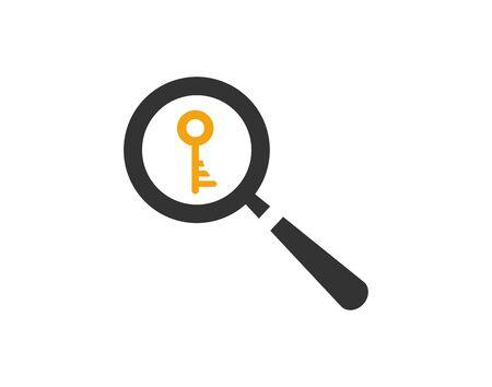 Keyword search flat icon magnifying glass and key vector image Ilustração