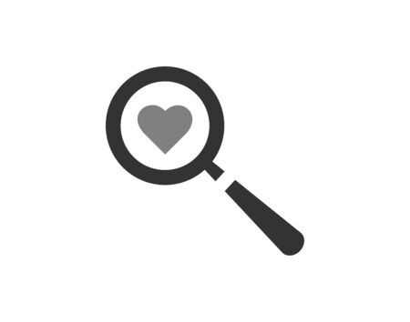 Magnifying glass looking for love isolated web vector image Illustration
