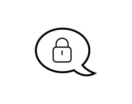 Linear speech bubble lock icon in flat style vector image