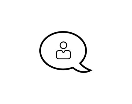 Line chat bubble with user icon inside vector image