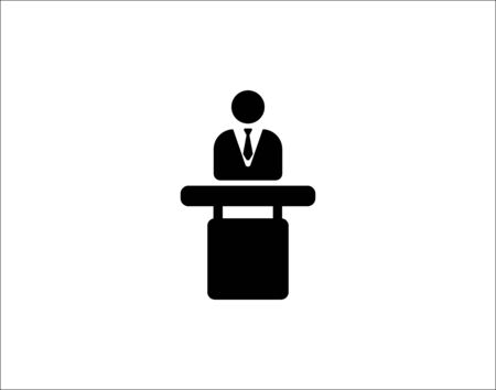 Speaker with tribune icon vector image