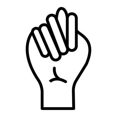 Finger Spelling the Alphabet in American Sign Language (ASL). The Letter T - vector