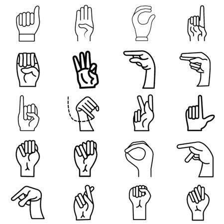 Finger Spelling the Alphabet in American Sign Language (ASL). The Letter icon set - vector Ilustração